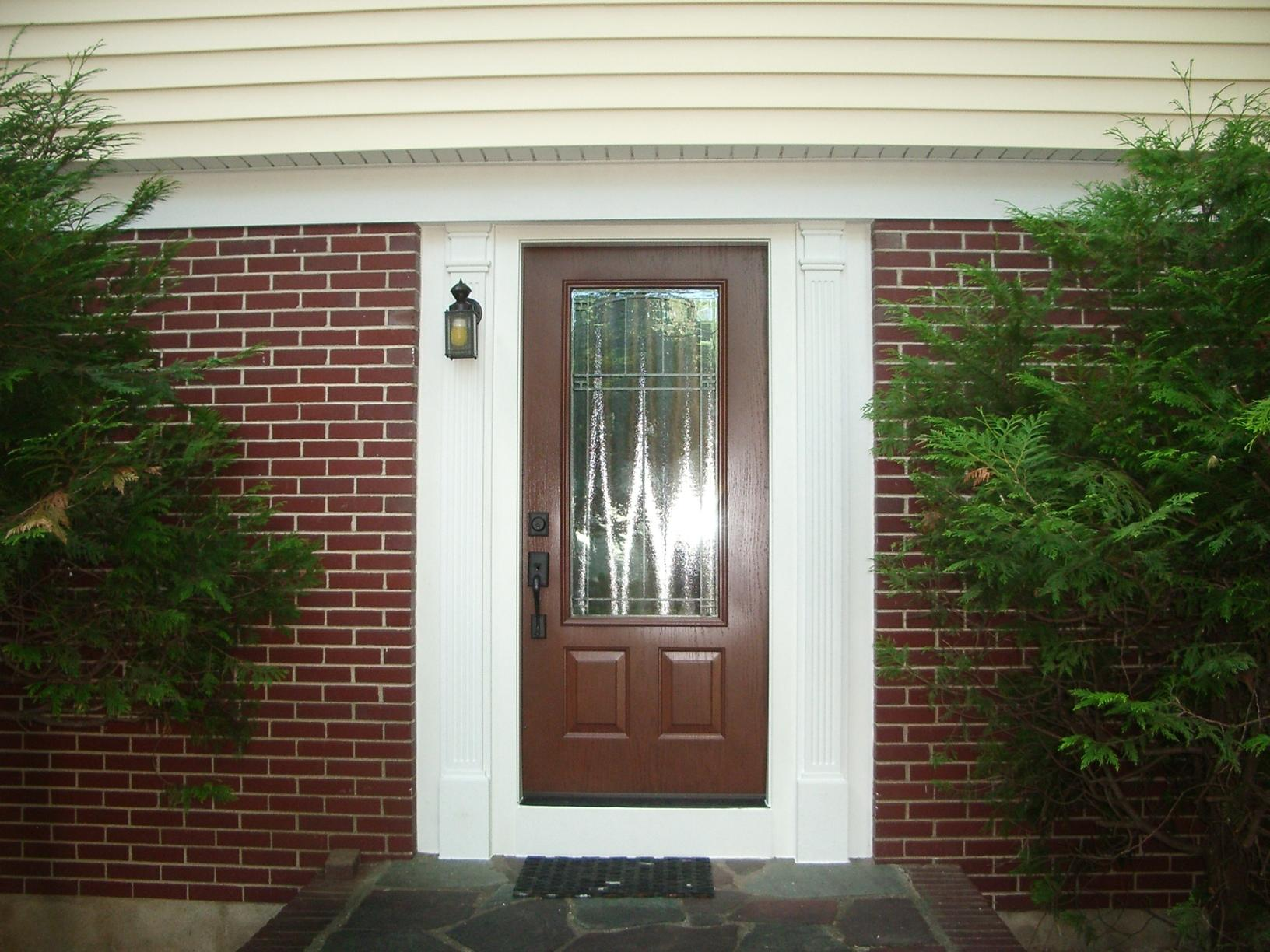 Cherry Stained ProVia Legacy Steel Entry Door with Carmen Glass