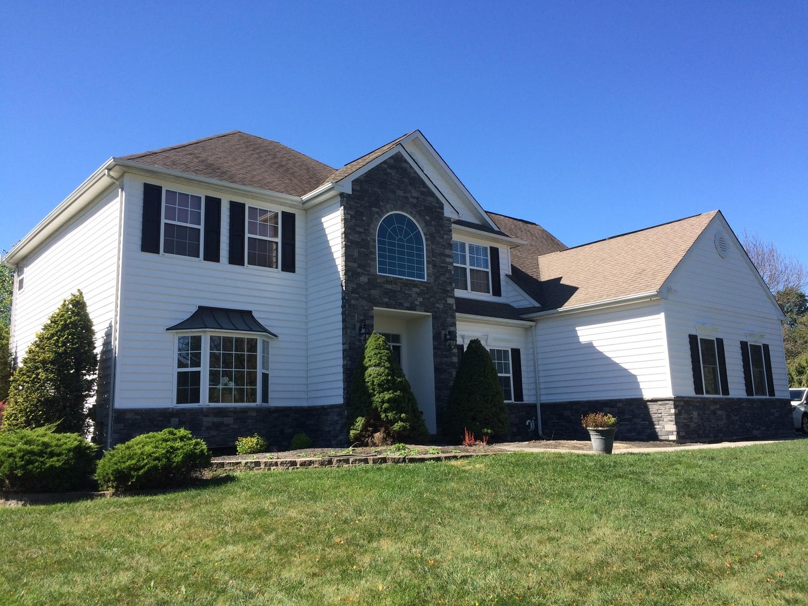 Final Photo of Stone and Vinyl Siding Install in North Wales, PA