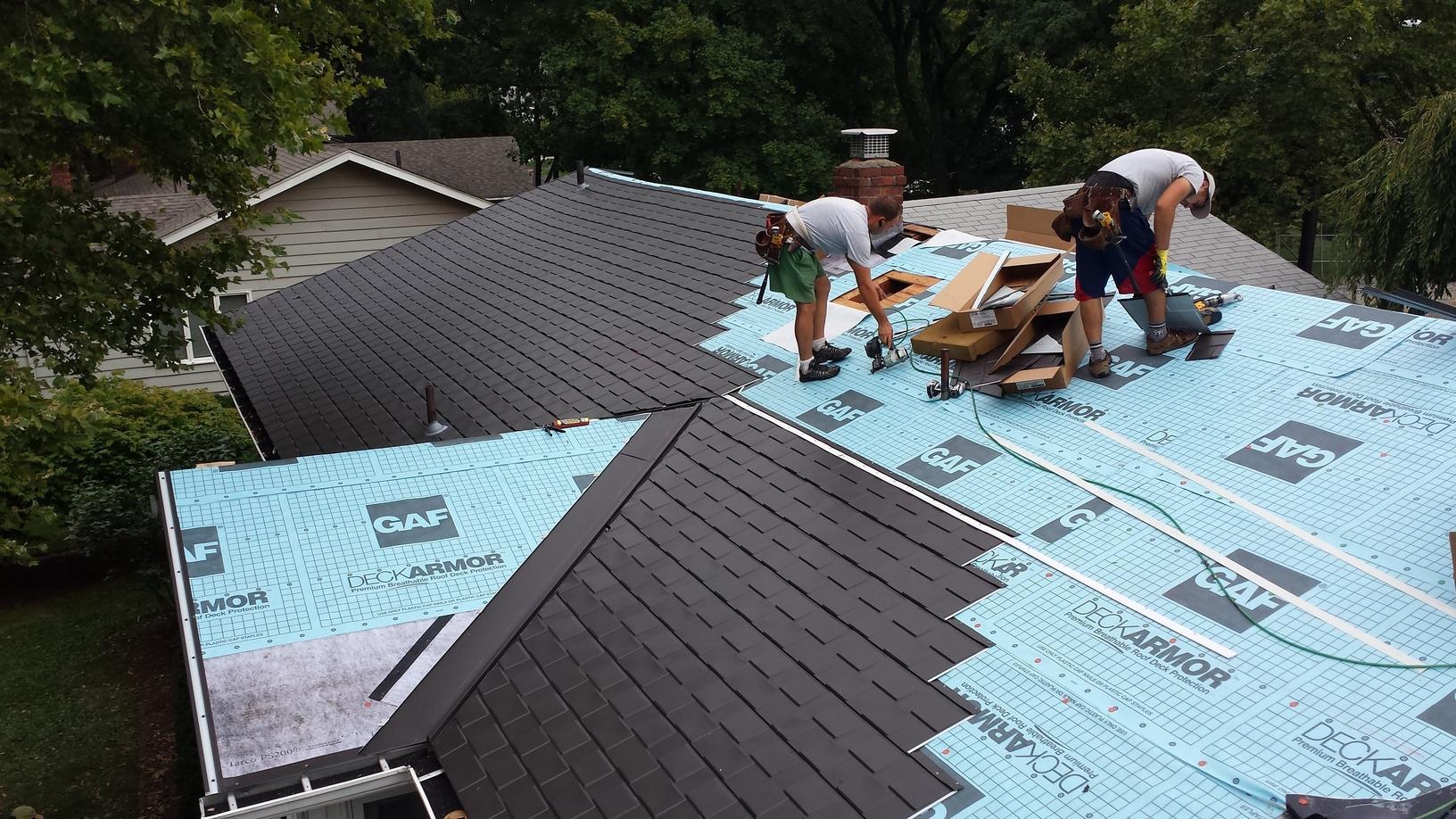 Progress Photo of Metal Slate Roof Install