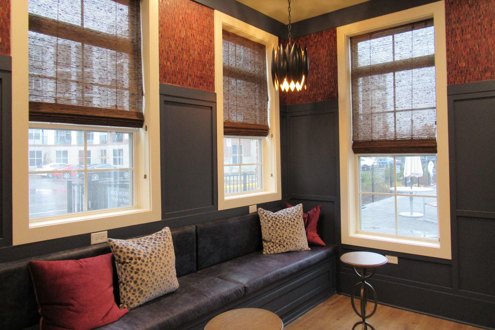 Windows in the cozy clubhouse at the Marq