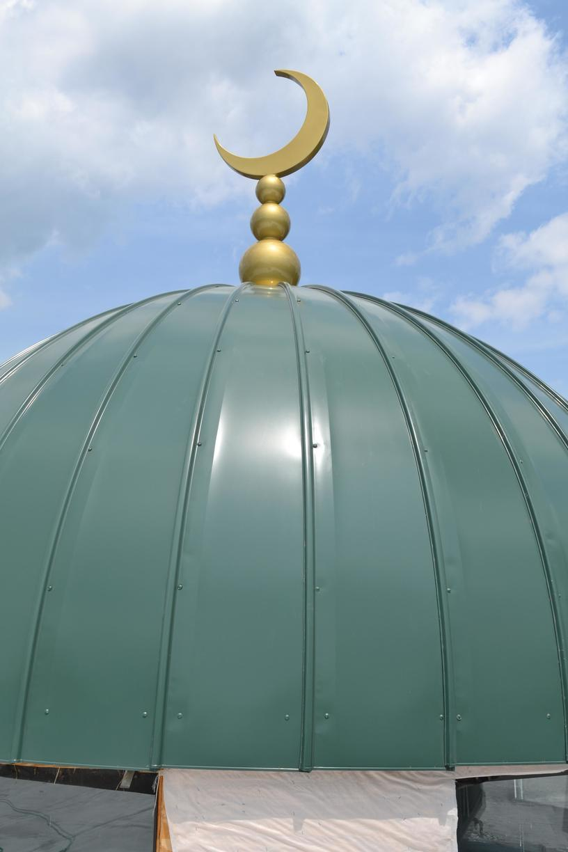 Forest Green Standing Seam Metal Dome with Golden Mantle Install in Edison, NJ