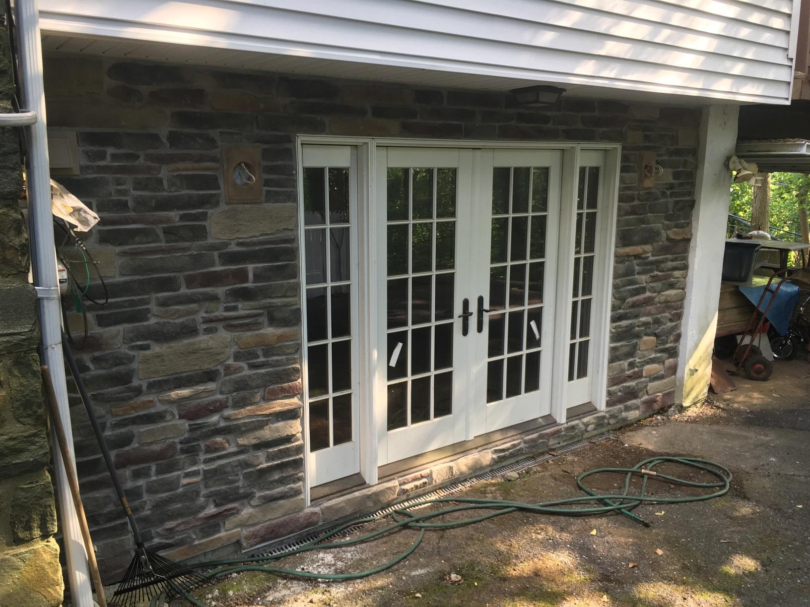 Installing Stone Siding Around Patio Doors