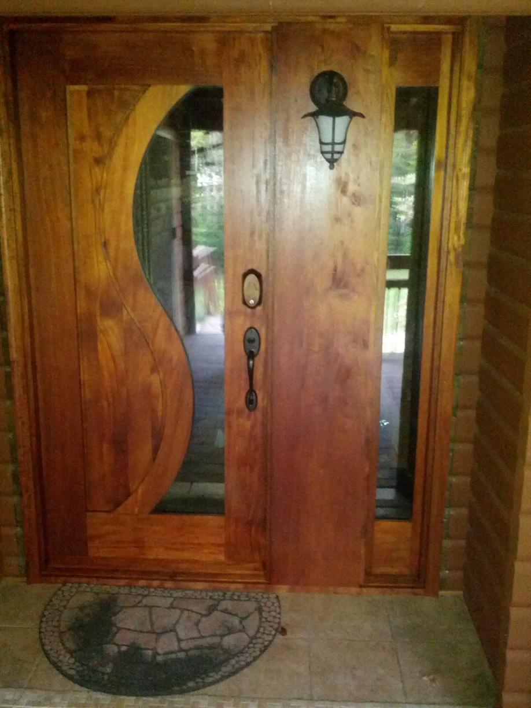 Mahogany Wood Entry Door Installation in Medford, NJ