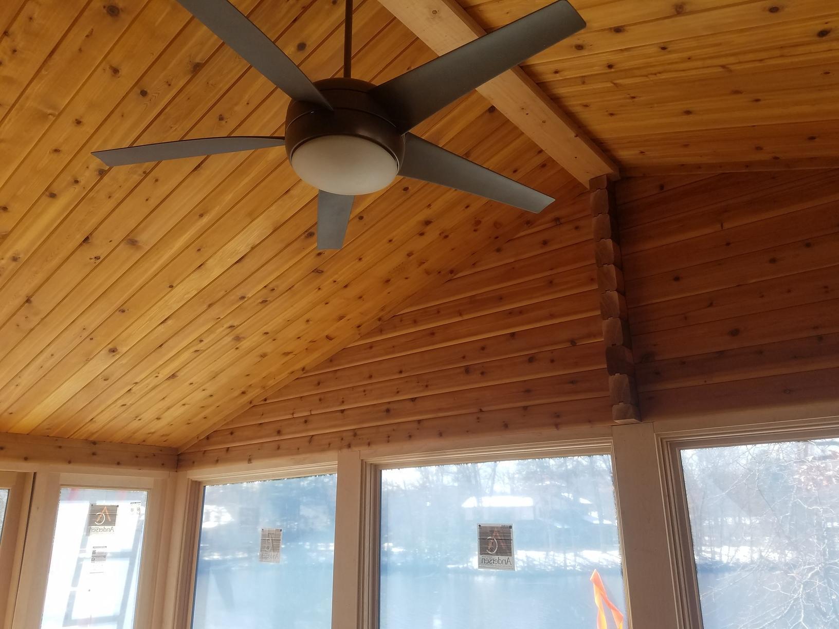 Installing New Wood Ceilings in Sunroom