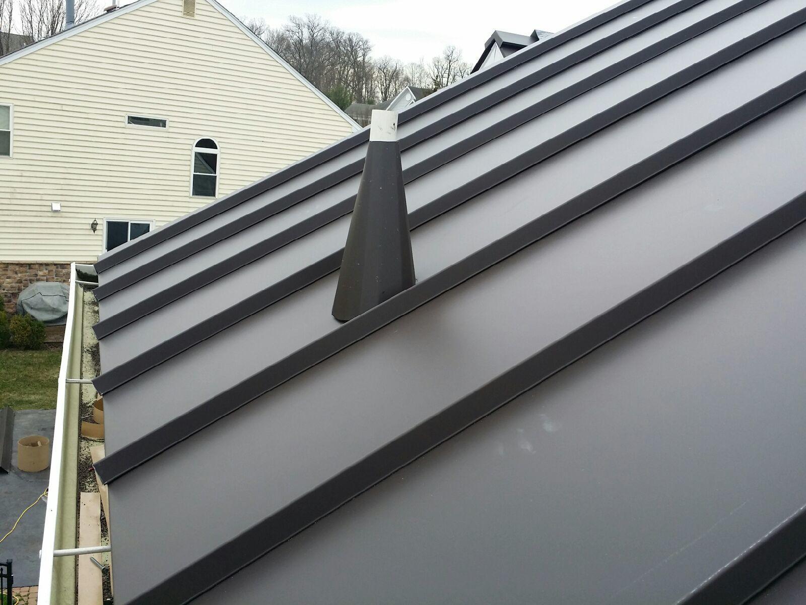 Close Up of Dark Bronze Standing Seam Metal Roof