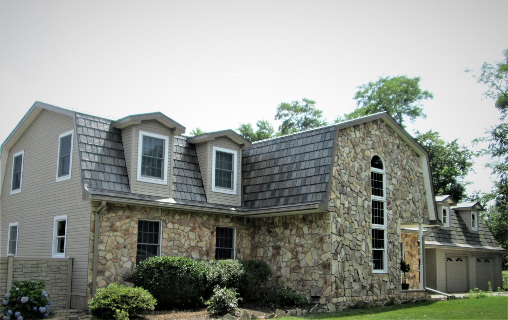 Metal Slate Roof Install Over Gambrel Roof