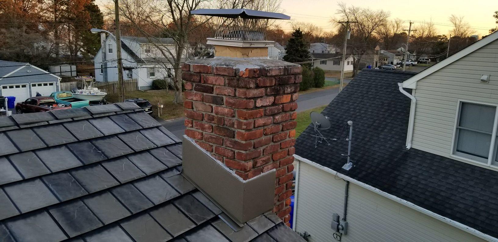 Metal Slate Roof with Custom Chimney Flashing in NJ