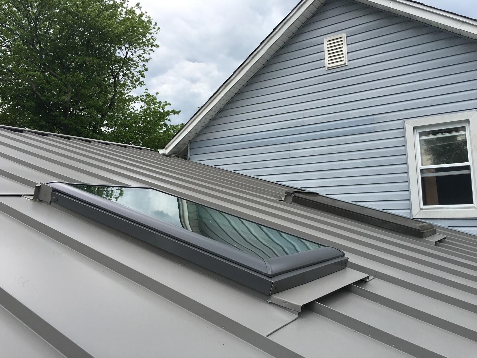 Standing Seam Metal Roof Installed Around Skylights in Media, PA