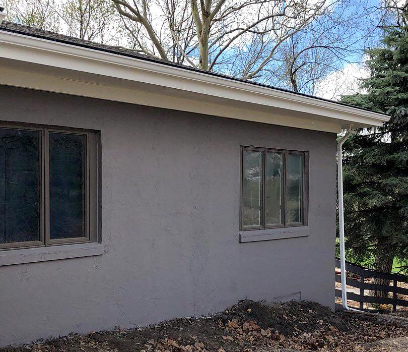 Side of Home with Window Framing Work