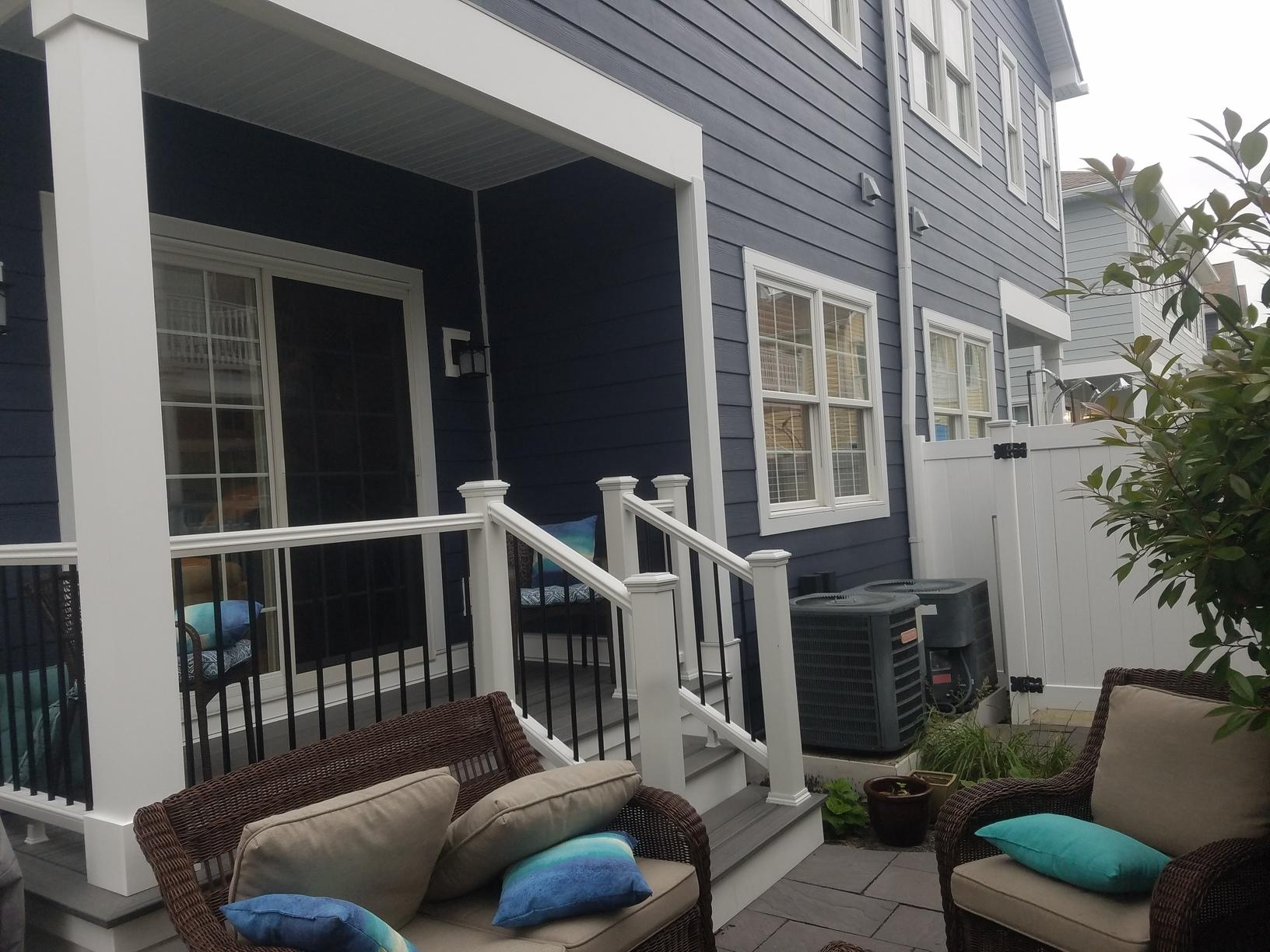 New Siding Around Patio Area of Beach Home