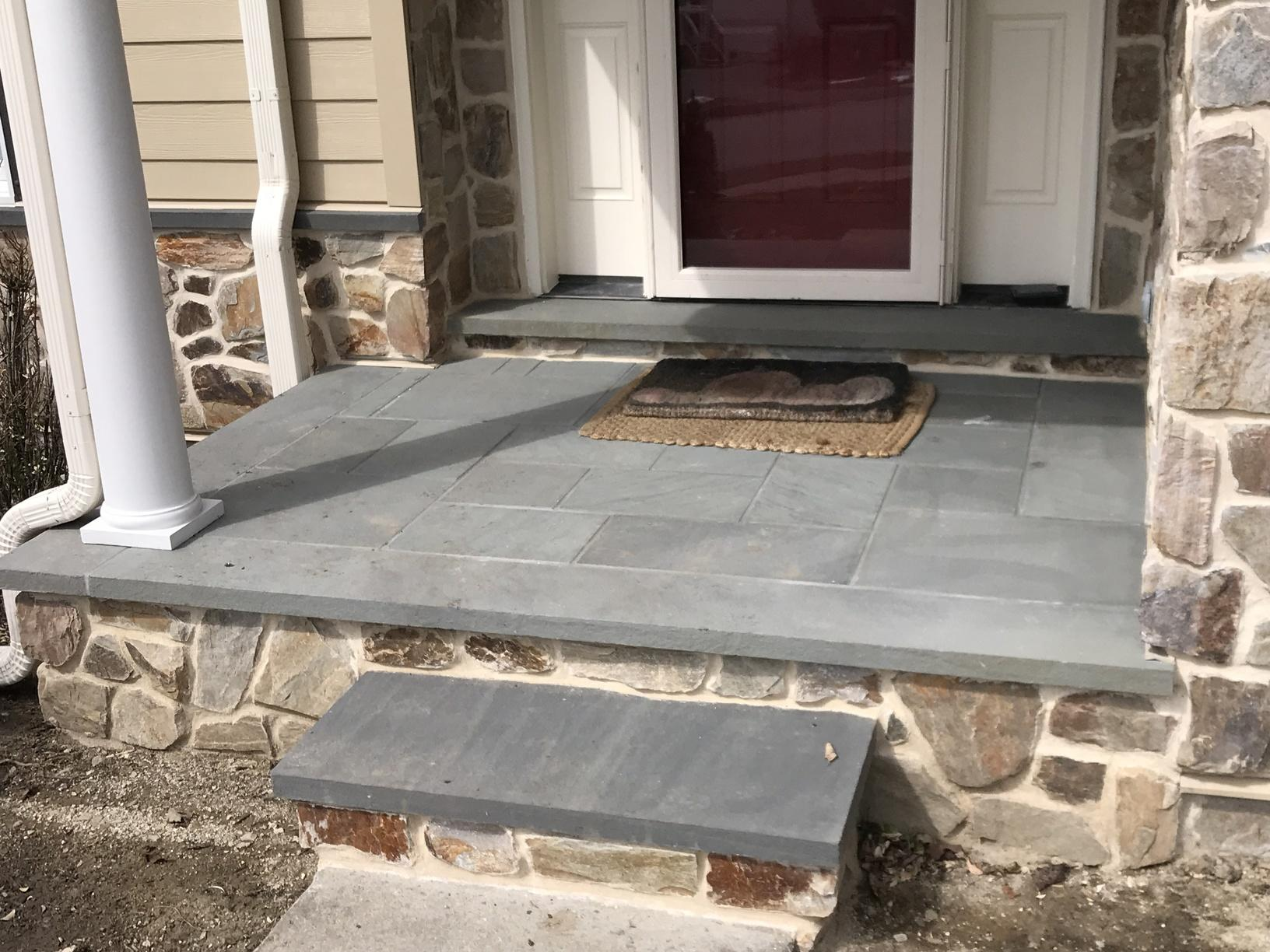 Building Out Custom Steps with Stone Siding