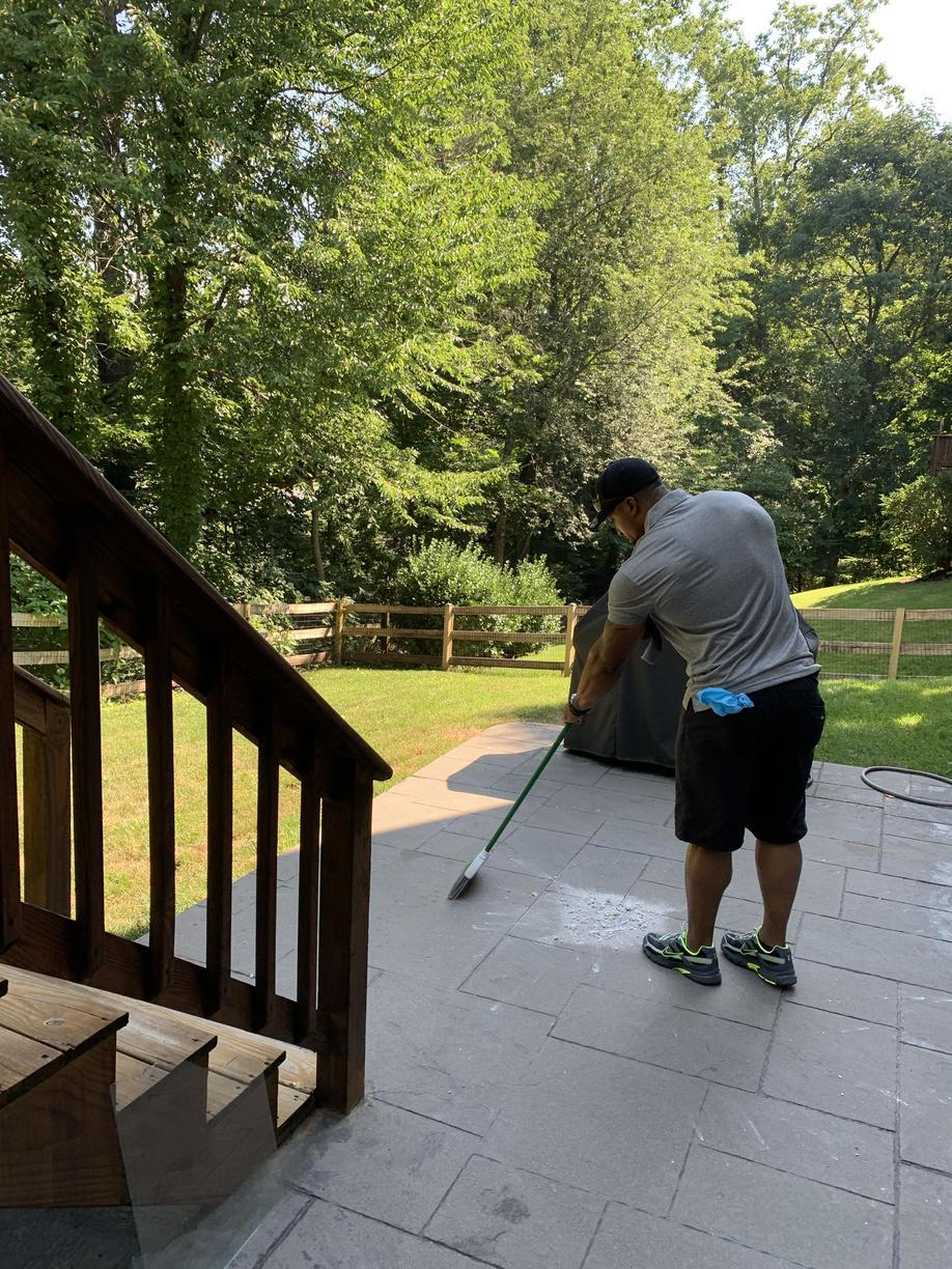 Cleaning up after servicing our client in Sterling, Va.