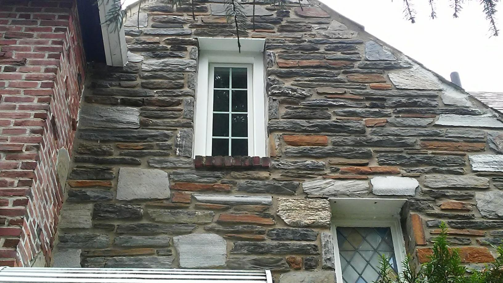 Marvin Infinity White Windows Installed on Stone Siding