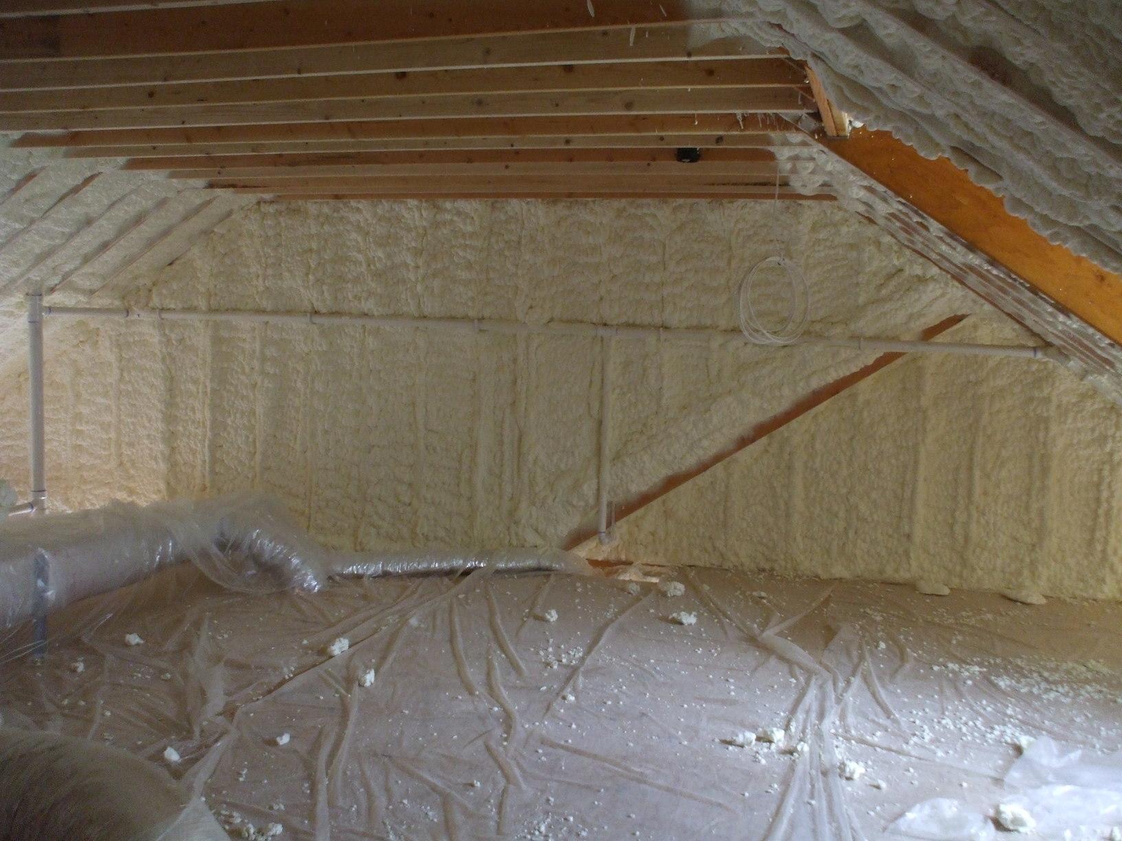 Attic Insulated with Spray Foam