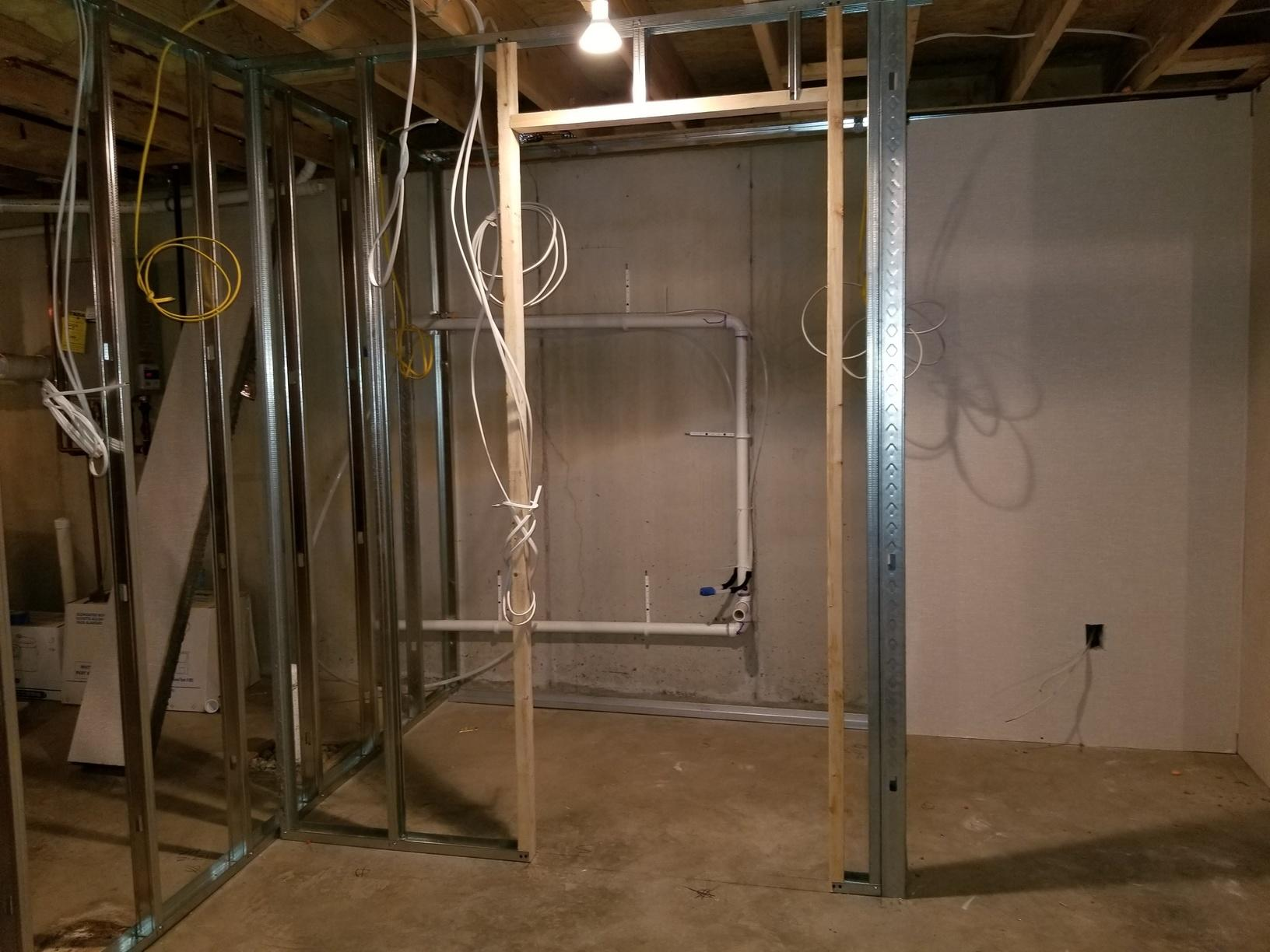 Interior wall framing with steel studs