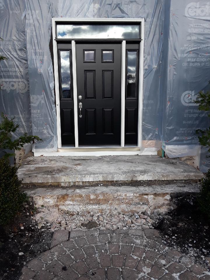 Black ProVia Heritage Fiberglass Entry Door Progress Photo