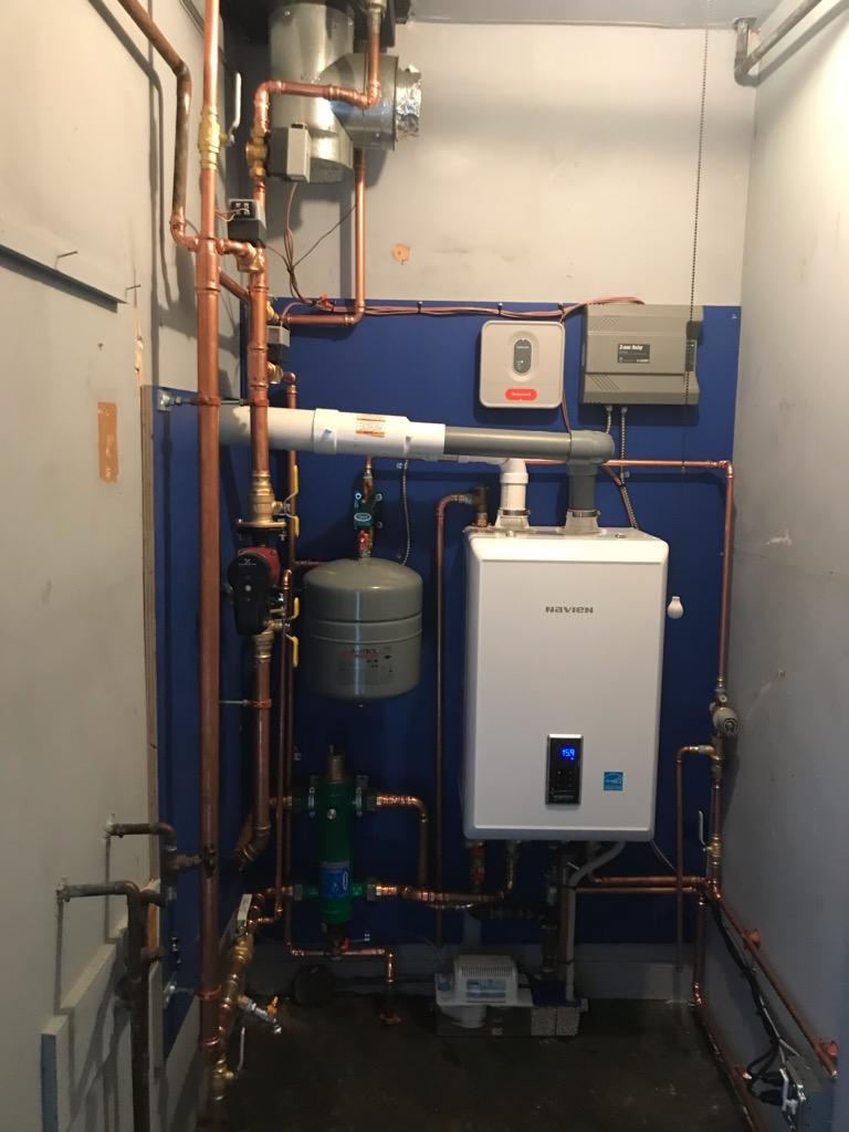 Navien tankless gas boiler installation done for our customer in Milford!!