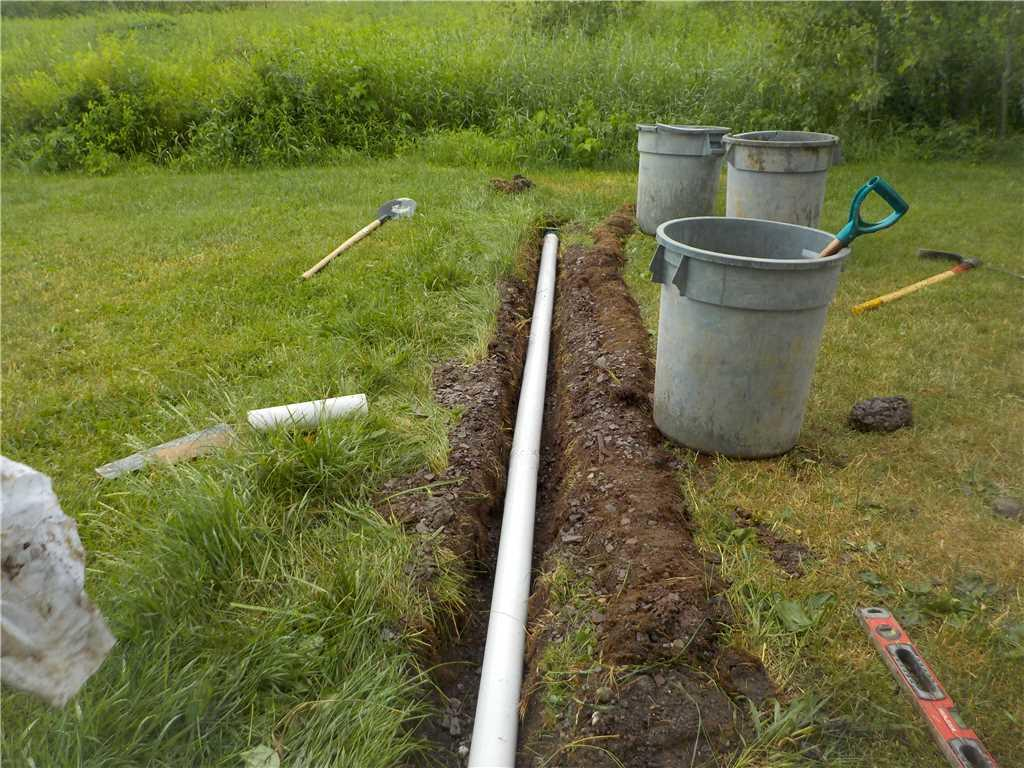 Discharge line installed in the yard