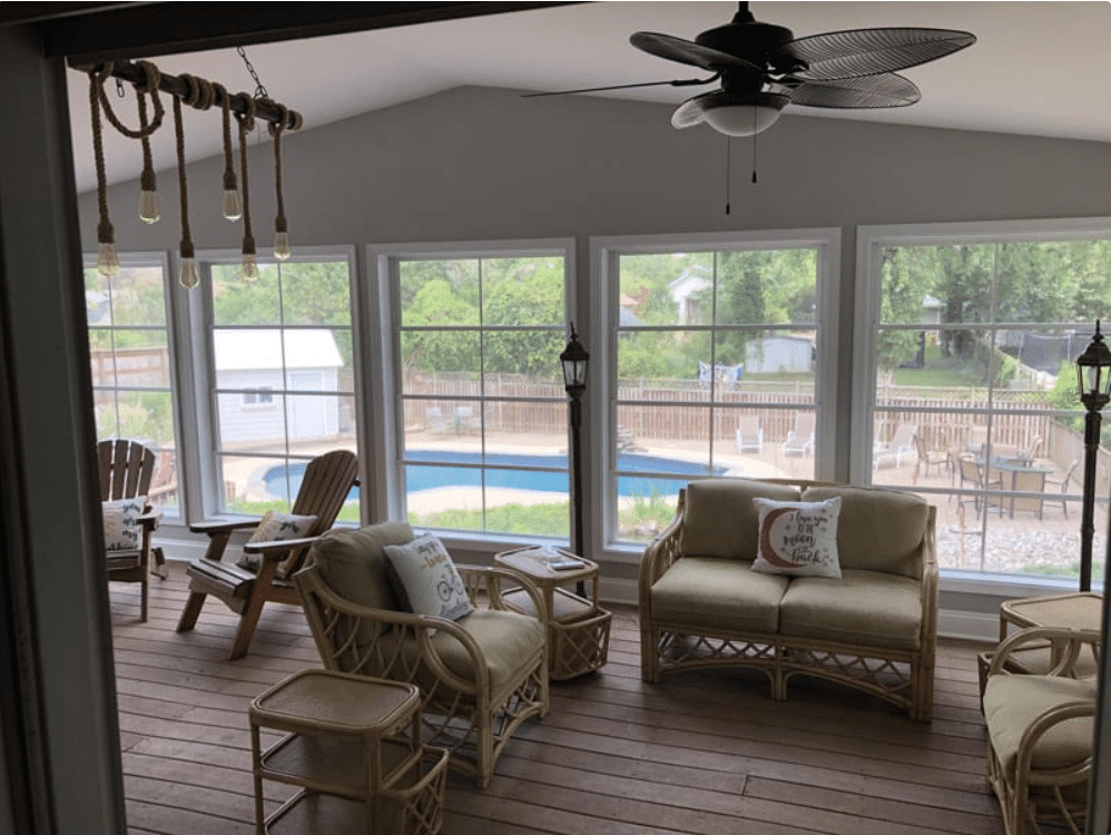 Deck transformed into a new sunroom.