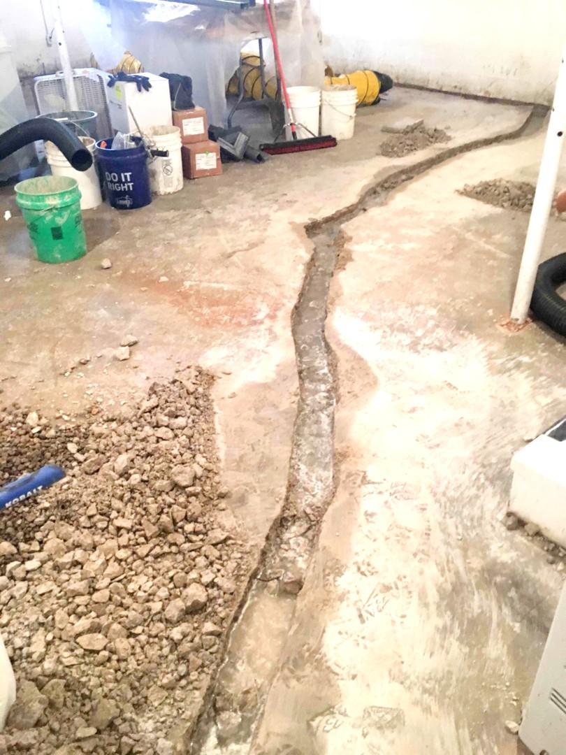 French Drainage System Before Photo