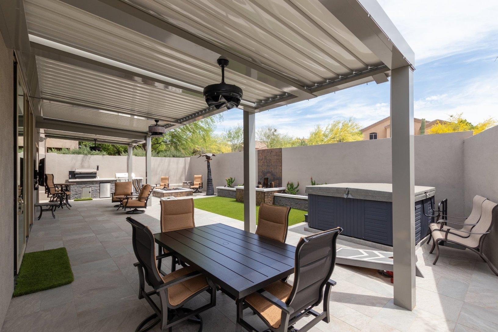 Remodeling Back Yard Remodel In Scottsdale 85255 Patio With Closed Louvers