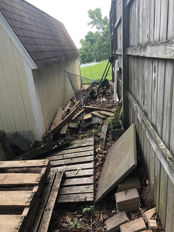 Before: outdoor debris clean-up in Nokesville, VA