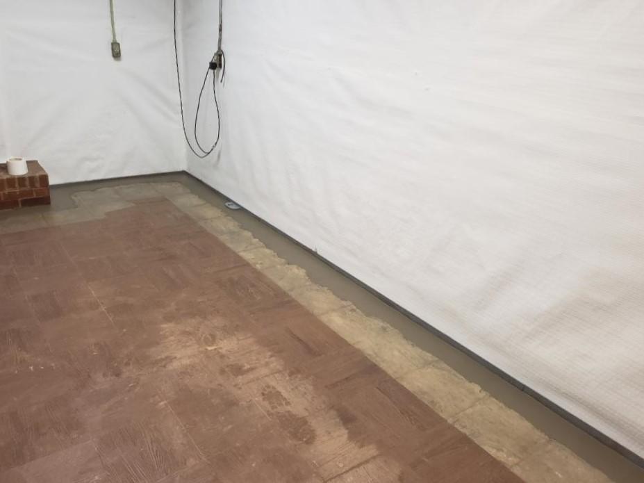 CleanSpace Vapor Barrier on Basement Block Wall