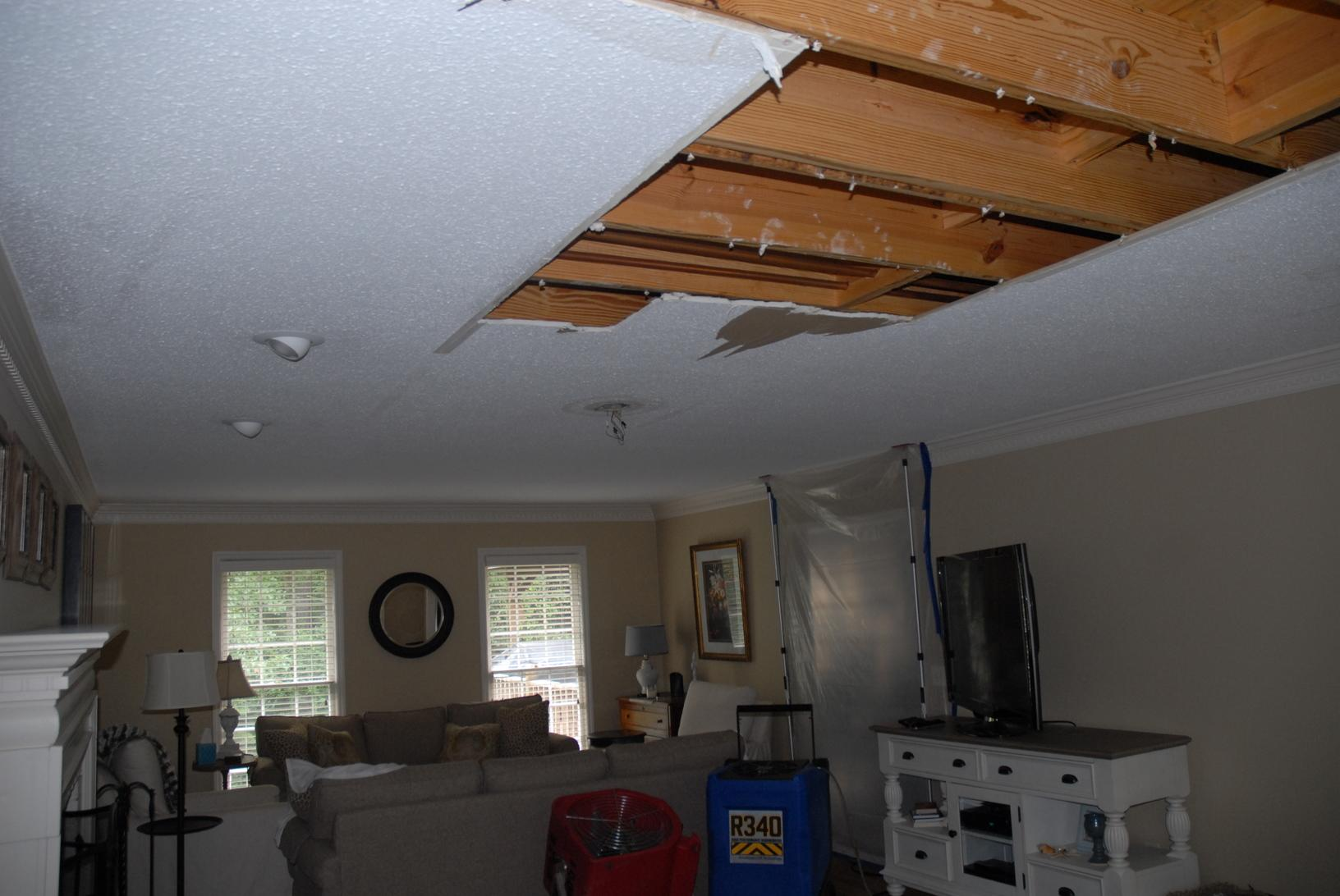Ceiling removal due to Water Damage