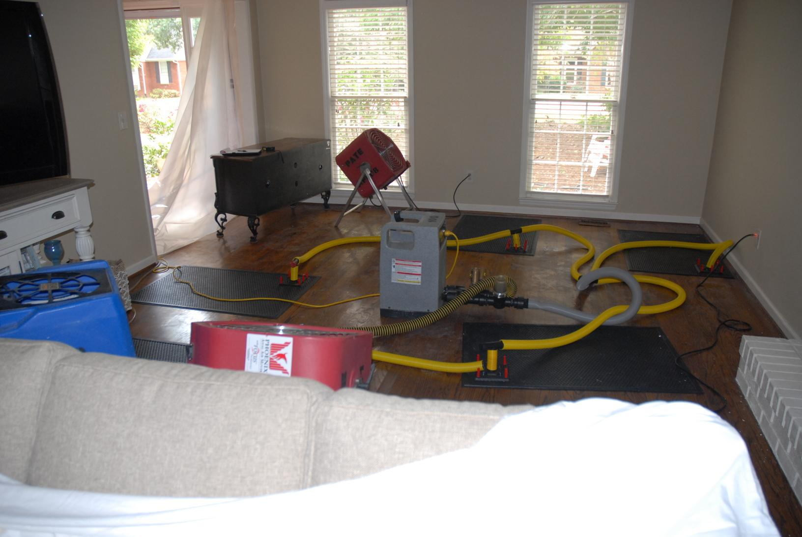 Wood floor drying system.