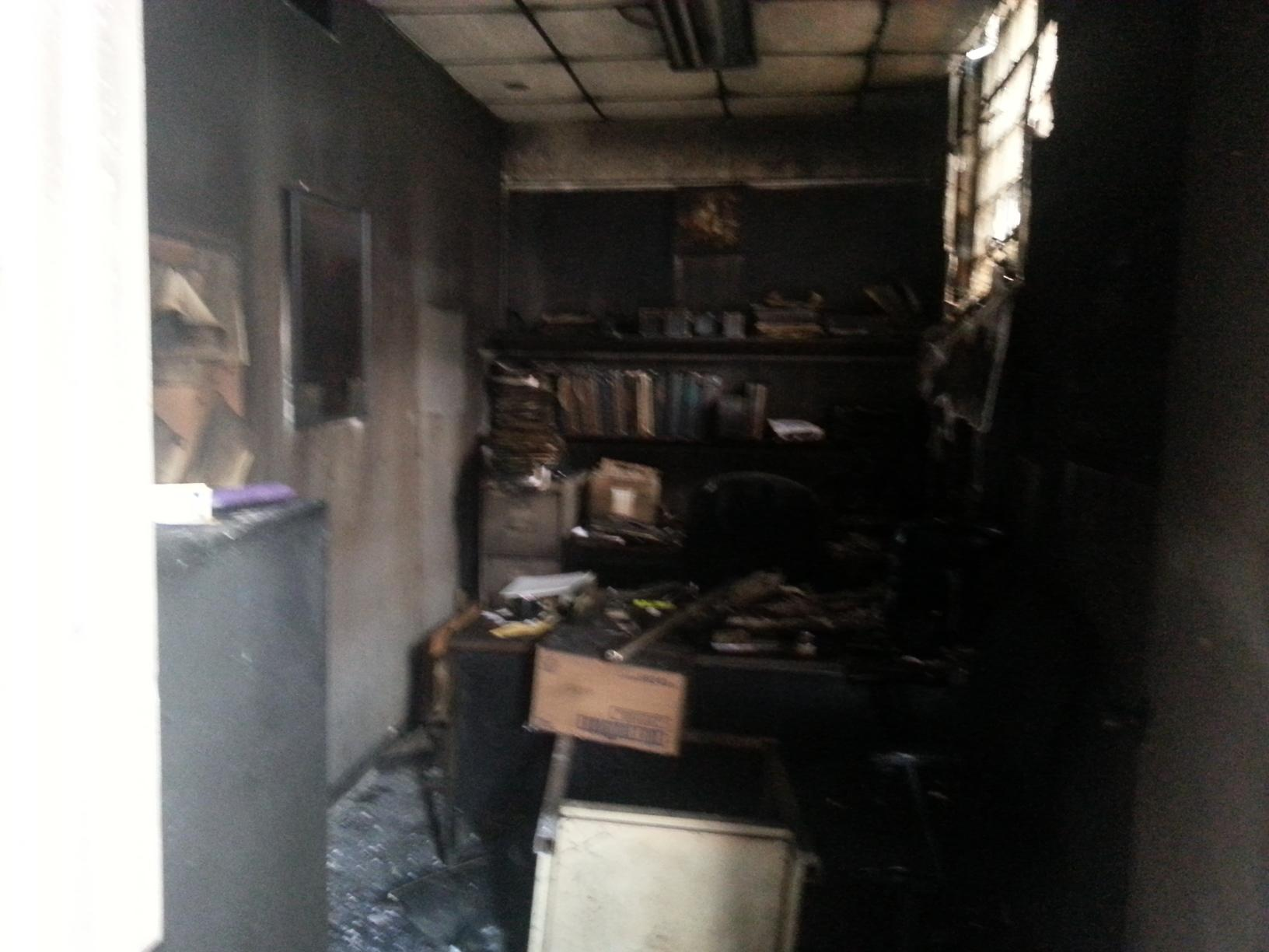 Office fire in home