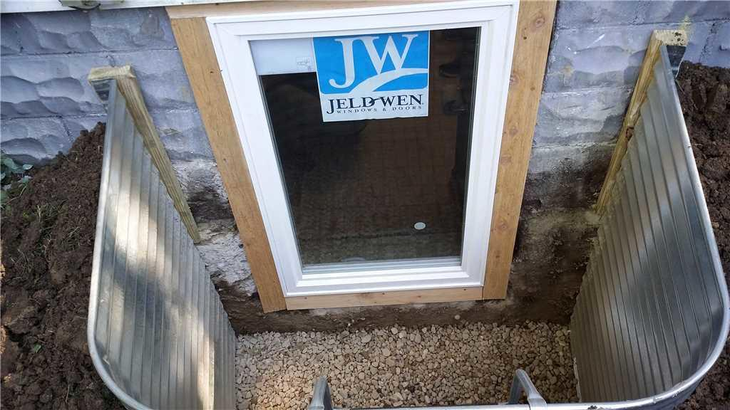 Egress Basement Windows Added as Part of the Waterproofing Project
