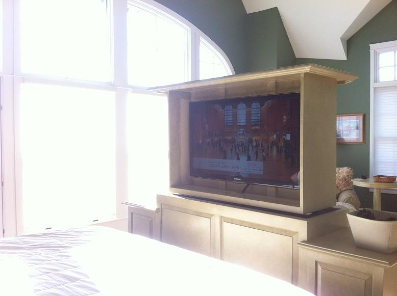 TV comes from the console entertainment center