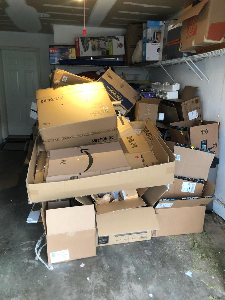 Recycling left in Garage