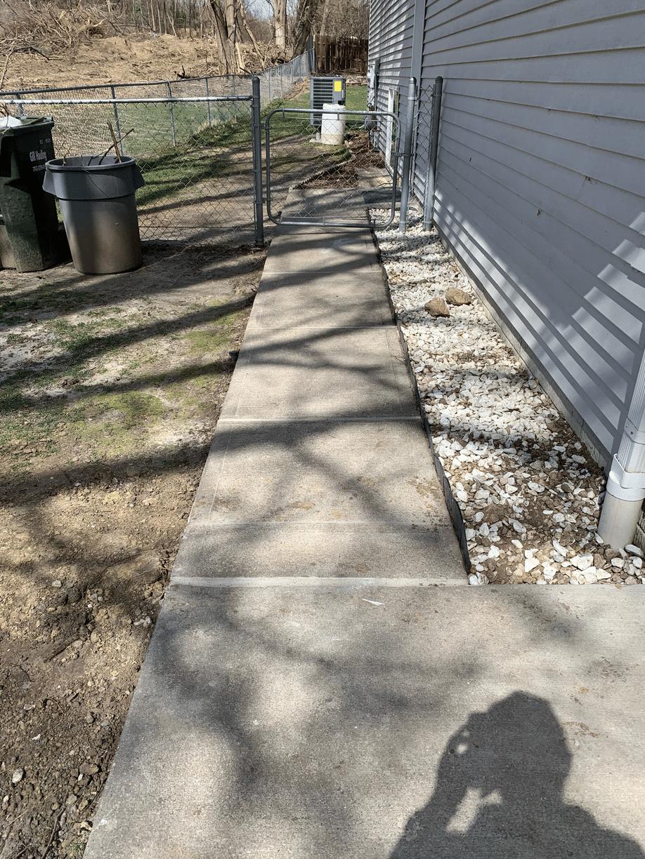 Cleared sidewalk walkway