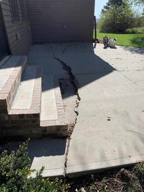 Back patio concrete settled