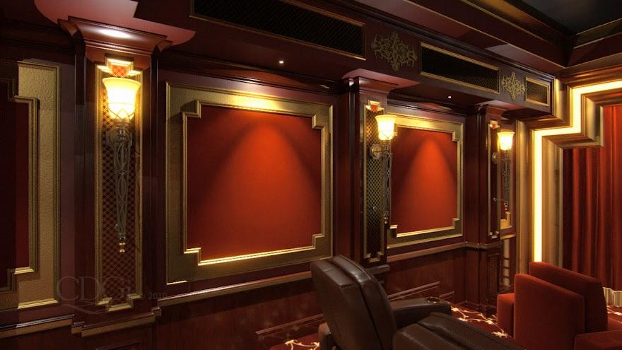 Residential Solutions Theater Interior Options 1 Theater Wall Red And Gold