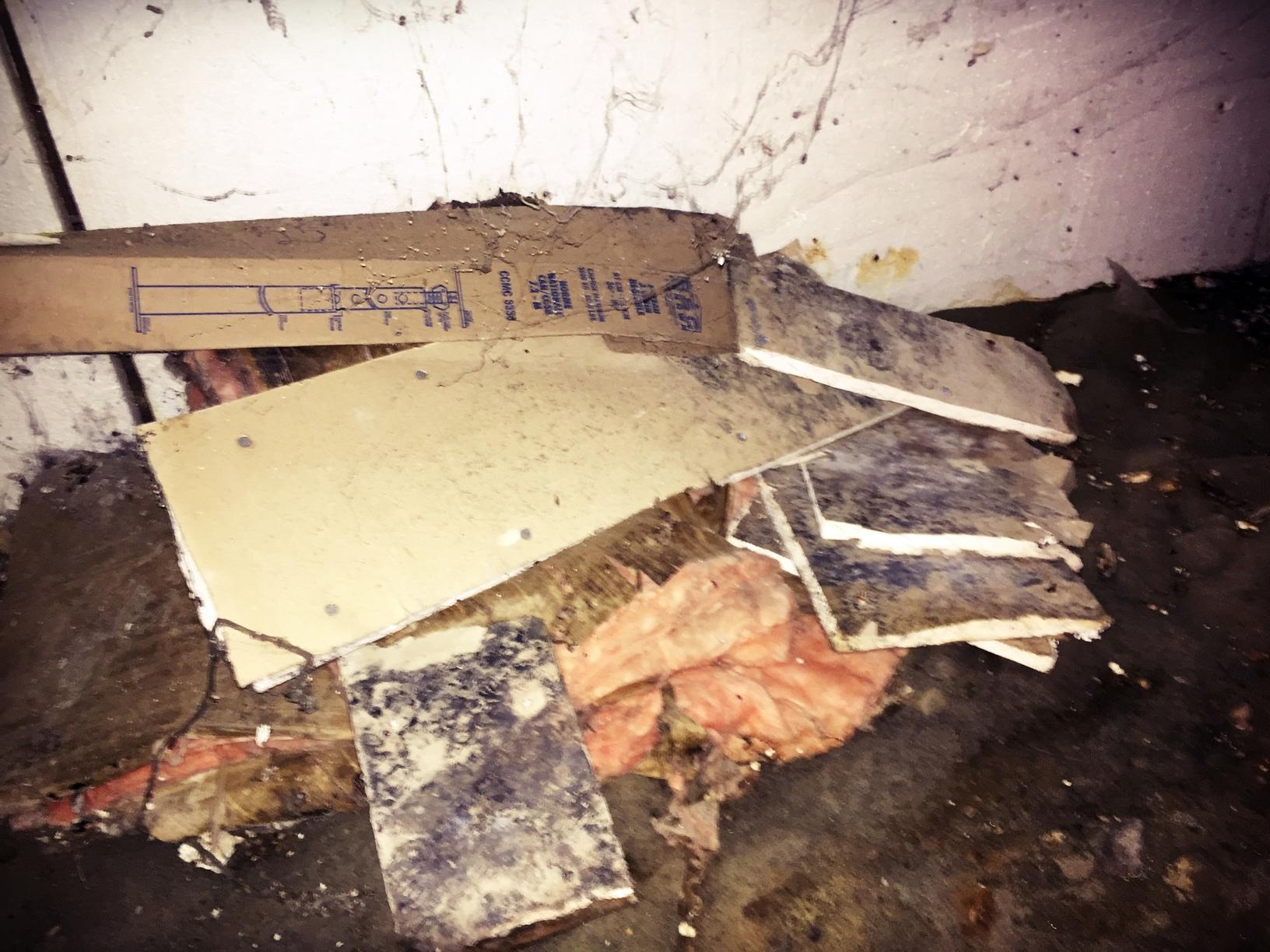 Debris left in a Nasty Crawl Space