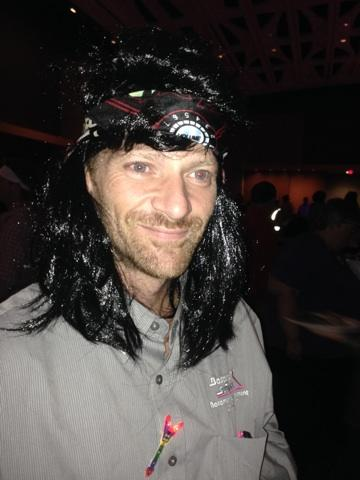 David Pierce and his new hairdo at the Motown themed party