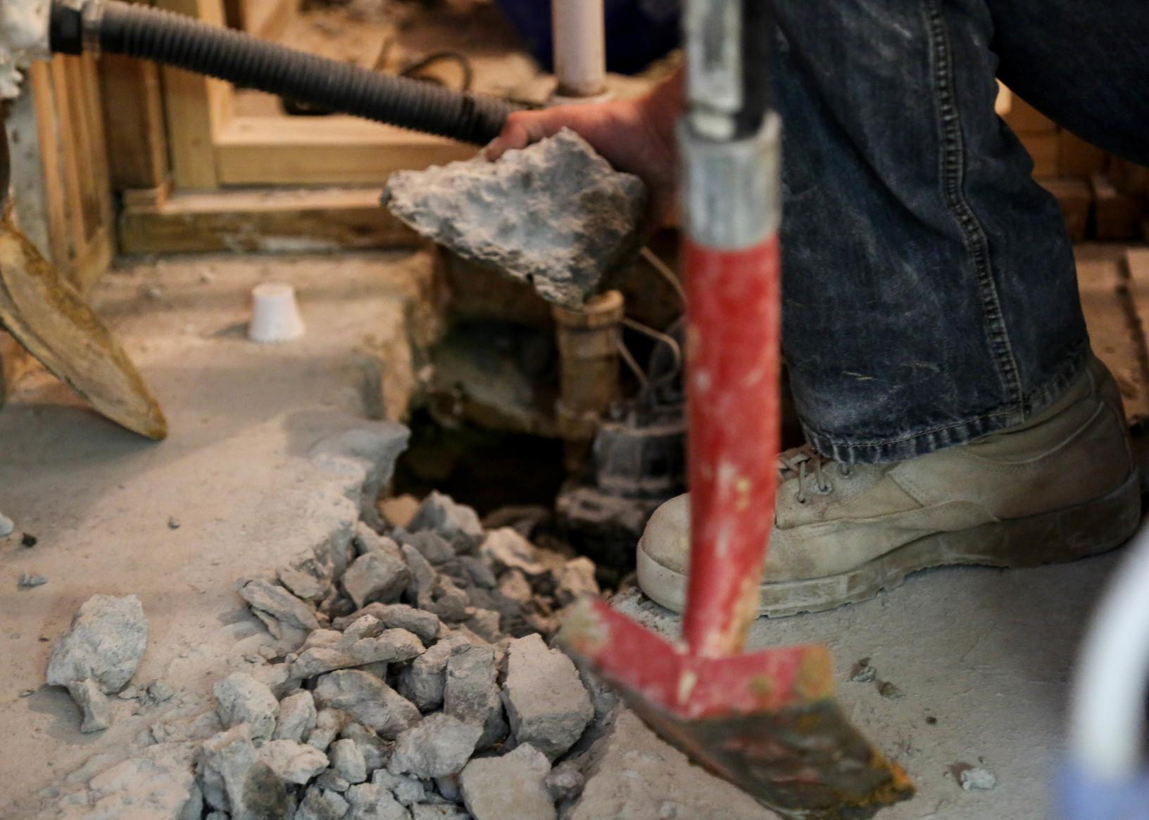 Chipping away concrete