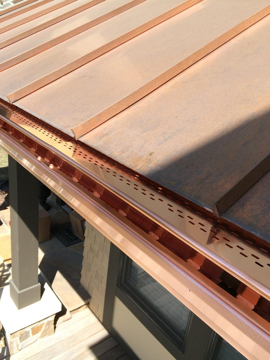 Close Up of Copper Gutters