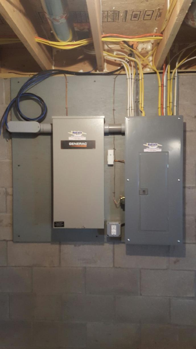 New 200 amp Transfer Switch with Main Breaker Panel in Canandaigua NY