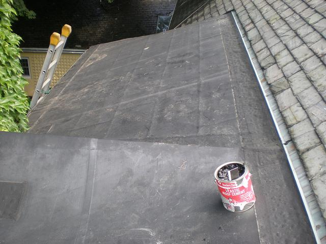 Flat Roof Transitioning to Slate Roof
