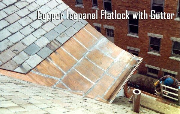 Types Of Roofing Copper Roofing Projects Copper Icepanel Flatlock With Gutter