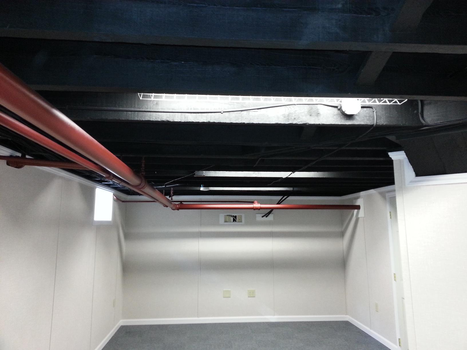 Bangor, Maine Basement Painted Ceiling