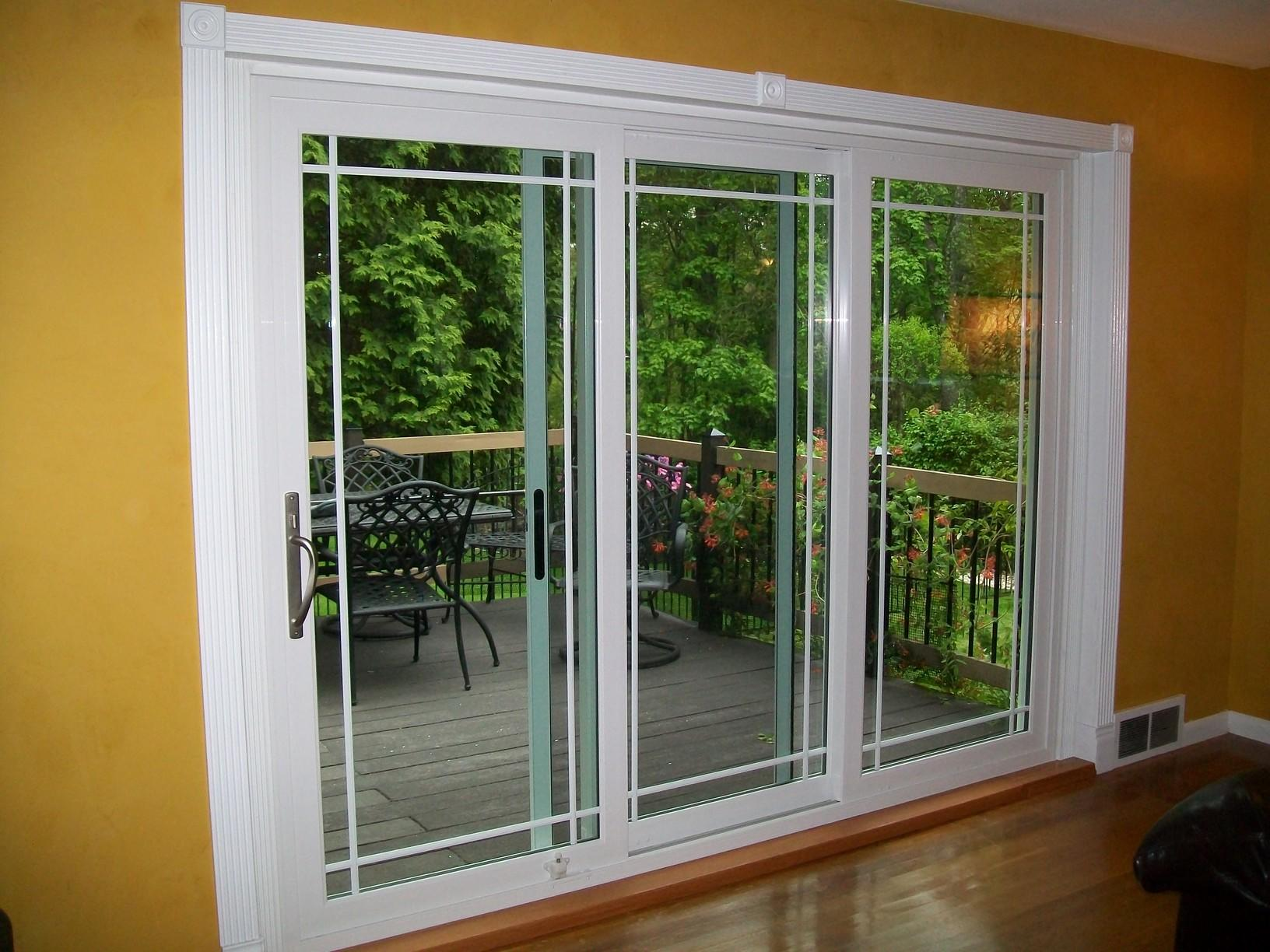 Interior view of three-panel sliding glass patio door installed in Wexford, PA