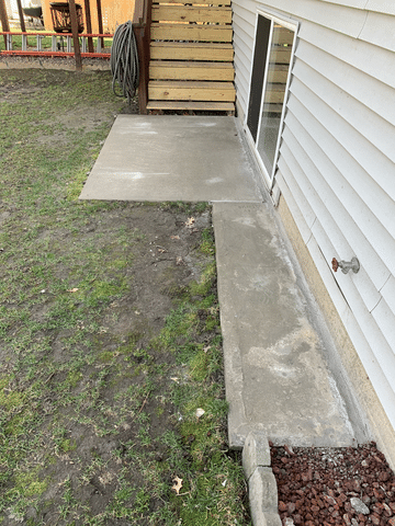 Back patio slab repaired