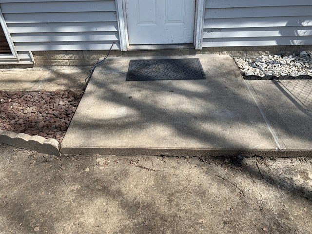 Garage walkout concrete slab leveled