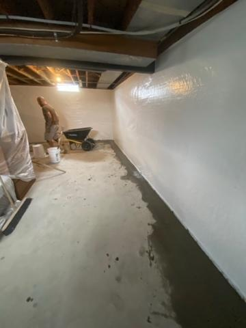 The entire basement has a full perimeter WaterGuard installed and then all of the walls were encapsulated with Clean Space.