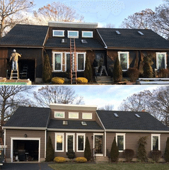 Before and after of a siding project completed in Holbrook, NY.