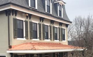 Copper porch roof installation on this historic Phoenixville, PA home which is quite usual in thisarea!